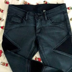Bebe skinny jeans with mesh inserts